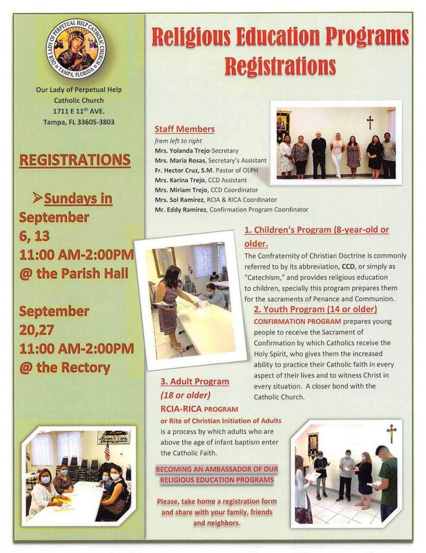 Registration for Religious Education Classes in September 2020
